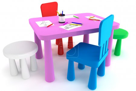 Photo for Colorful plastic kid chairs and table on a white background - Royalty Free Image