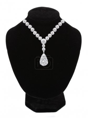Diamond necklace on black mannequin isolated on white