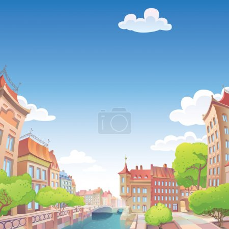 Photo for The view on the old European city street and the river quay. - Royalty Free Image
