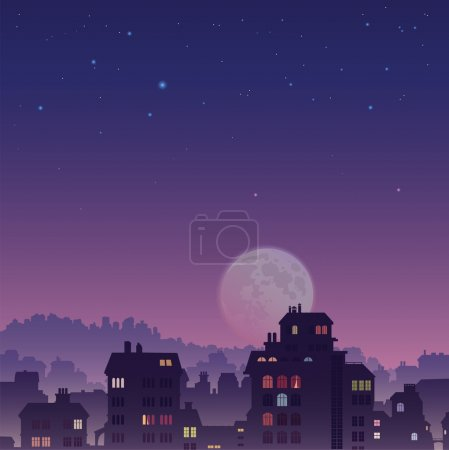 Illustration for The perspective view of the big old city by night - Royalty Free Image