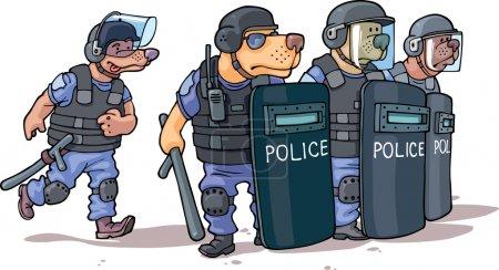 Illustration pour Les chiens de bande dessinée en uniforme de police sont debout derrière les boucliers . - image libre de droit