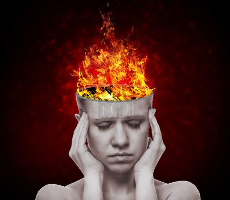 Photo for Concept, an idea. head of woman with a flame of fire on black background - Royalty Free Image