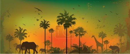 Illustration pour Illustration vectorielle de silhouettes d'animaux dans la jungle - image libre de droit