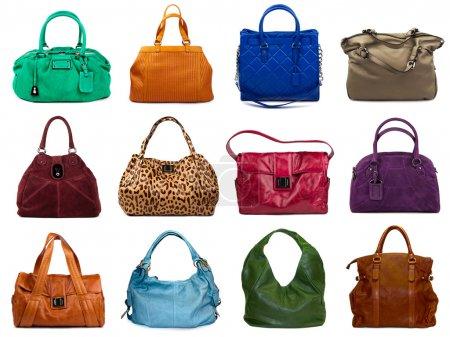 Photo pour Ensemble de sacs femelles multicolores sur fond blanc.12 pièces . - image libre de droit