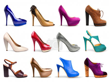 Photo for Set of different,multicolored female shoes on a white background in profile.12 pieces. - Royalty Free Image