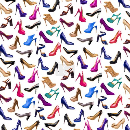 Photo for Multicolored female shoes background - Royalty Free Image