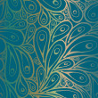 Seamless doodle peacock feathers pattern in blue-g...