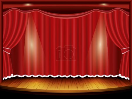 Theater stage with red curtain and spotlight, vect...