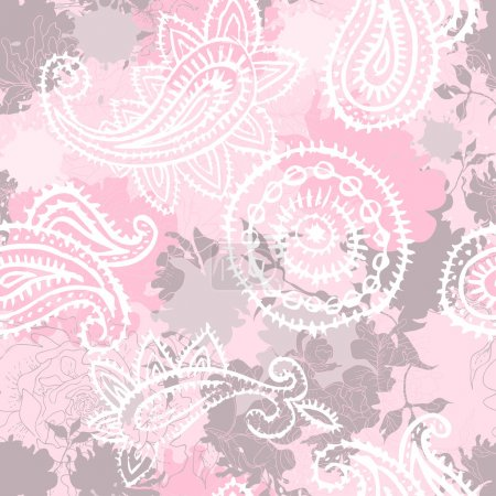 Vintage floral seamlessl pattern with paisley elements