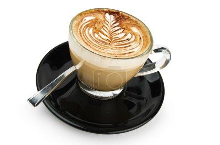 Cappuccino with artistic cream decoration rosetta