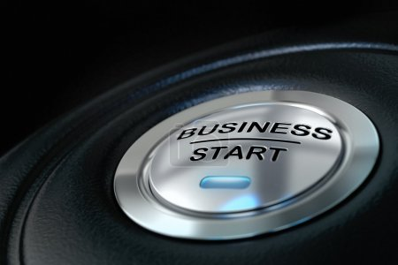 Photo for Pushed business start button over black background, blue light, symbol of new businesses - Royalty Free Image