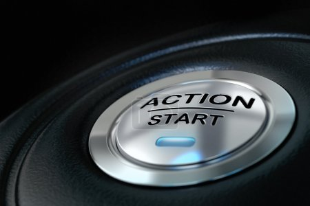 Photo for Pushed action start button over black background, blue light, motivation concept - Royalty Free Image