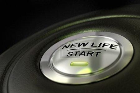 Photo pour Poussé nouveau bouton de démarrage de vie sur fond noir, bleu lumière, évolution du concept de vie - image libre de droit