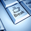 Keyboard with Coffee Break button, work concept...