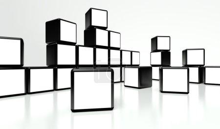 Photo pour Mur vidéo écran blanc de nombreux cubes sur fond blanc - image libre de droit