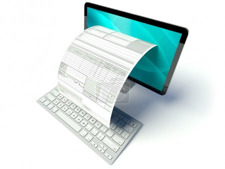 Photo for Desktop computer screen with tax form or invoice - Royalty Free Image