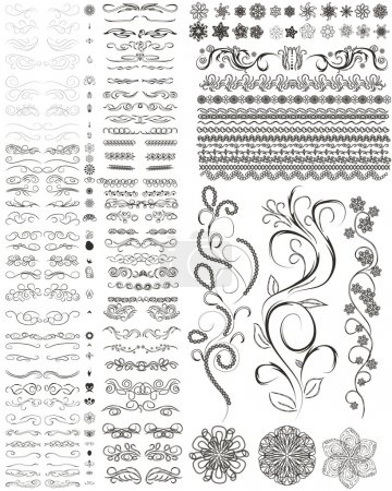 Illustration for Vector set of style design elements, frames, flowers and other. - Royalty Free Image