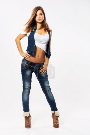 Lovely woman in stylish denim clothing