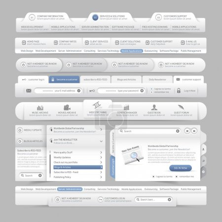 Web site design menu navigation elements with icons set:Navigation menu bars