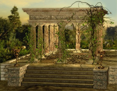 Photo for An ancient Greek temple with a burners and ivy - Royalty Free Image