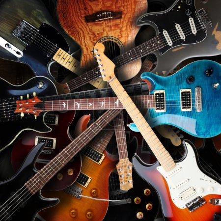 Photo pour Fond de guitares électriques - image libre de droit