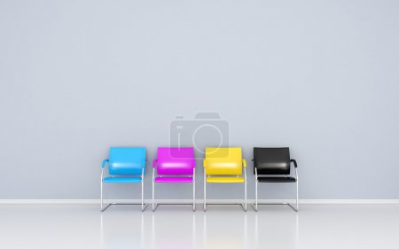 CMYK colored stools