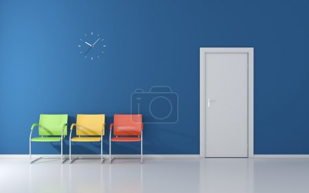 Photo for Three stools and wall clock in the waiting room - Royalty Free Image
