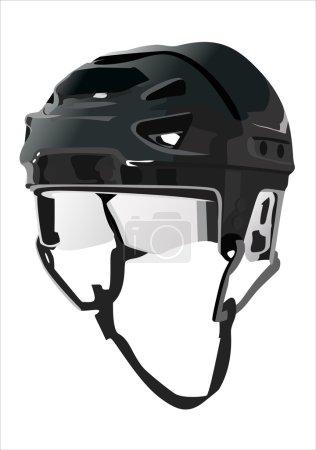 casque de hockey isolée sur fond noir