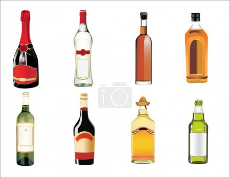 Set of different drinks and bottles on the wall. Vector illustration.