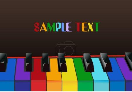 Illustration pour Clés de piano multicolores - image libre de droit