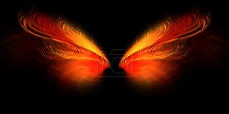 Photo pour Enfer ailes de papillon d'ange ou de démon avec rouge et jaune - image libre de droit