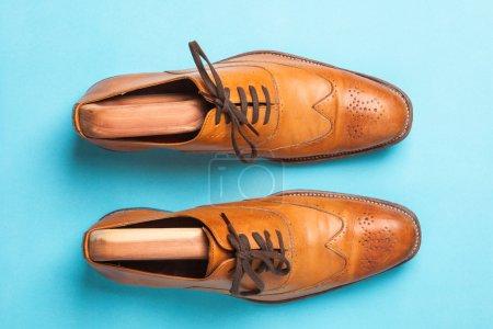 Une paire de chaussures homme brogue bronzées à la mode sur un fond bleu vif