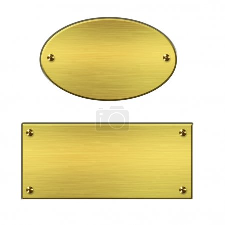 Gold metal signs on white background...
