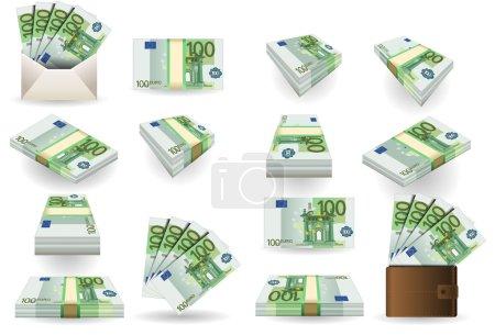 Illustration pour Illustration détaillée d'un jeu complet de cent billets en euros - image libre de droit