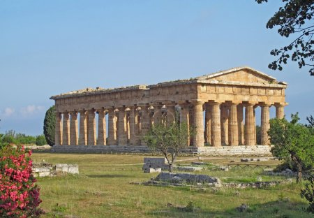 Evocative and ancient Greek temple and a well preserved Oleander
