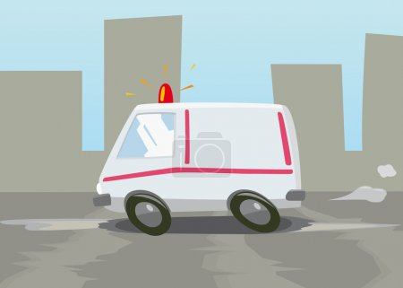 Illustration for This is a vector illustration of high-speed ambulance - Royalty Free Image