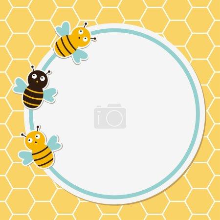 Ilustración de Marco lindo del panal y las abejas - Imagen libre de derechos