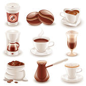 Set of 9 glossy coffee icons