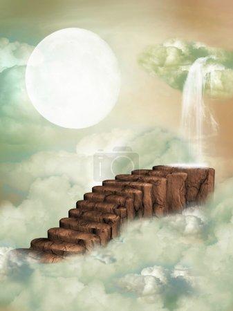 Photo pour Escalier fantastique dans le ciel avec cascade - image libre de droit