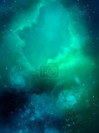 Photo pour Planète et nébuleuse de brouillard vert espace starfield - image libre de droit