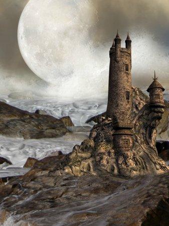 Photo pour Fantastique château avec des vagues de rochers et une grande lune - image libre de droit