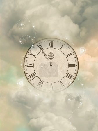Photo for Magic old sepia clock in the sky - Royalty Free Image