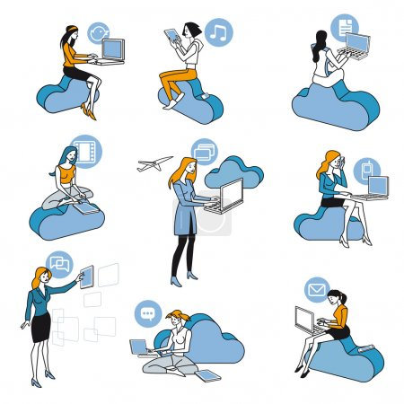 Cloud Computing Blue Women Set