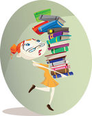 A cartoon librarian carries a huge pile of books Illustrator eps v10 Contains some transparency effects