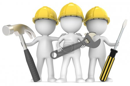 Photo for 3D little human character The Builders X3 with Tools. series. - Royalty Free Image