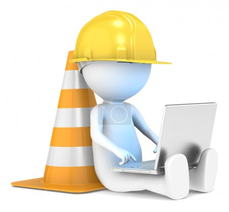 Photo for 3D little human character The Builder sitting with a Laptop. Illuminative blue screen. series. - Royalty Free Image