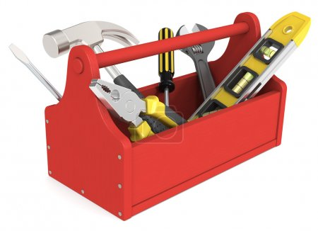 Photo for Toolbox of wood painted red. Miscellaneous Tools. - Royalty Free Image