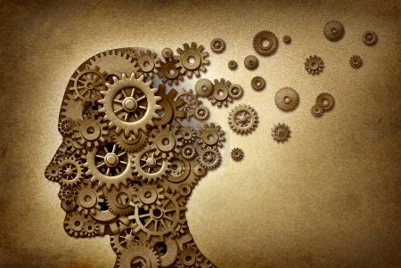 Photo pour Symbole d'une notion médicale et soins de santé de problème Dimentia cerveau sur une texture grunge de parchemin comme un document vintage avec des engrenages et pignons en tant qu'icônes de la médecine et de l'intelligence humaine. - image libre de droit