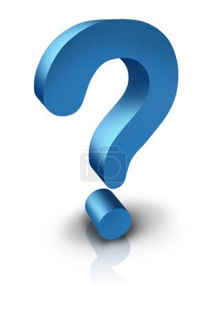Photo pour Point d'interrogation en trois dimensions comme un sybol bleu de curieux cherchant des réponses ou poser une question ou l'uncetainty financière de l'économie, sur fond blanc. - image libre de droit