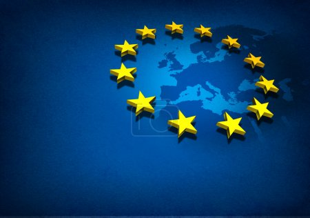 Photo for European Union and Europe countries including France Germany Italy and England surrounded by blue ocean with three dimensional yellow flag stars on a blue grunge background. - Royalty Free Image